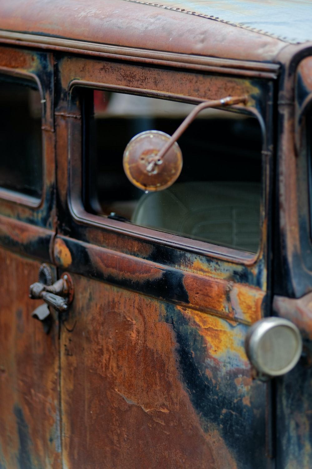 brown and black vintage car