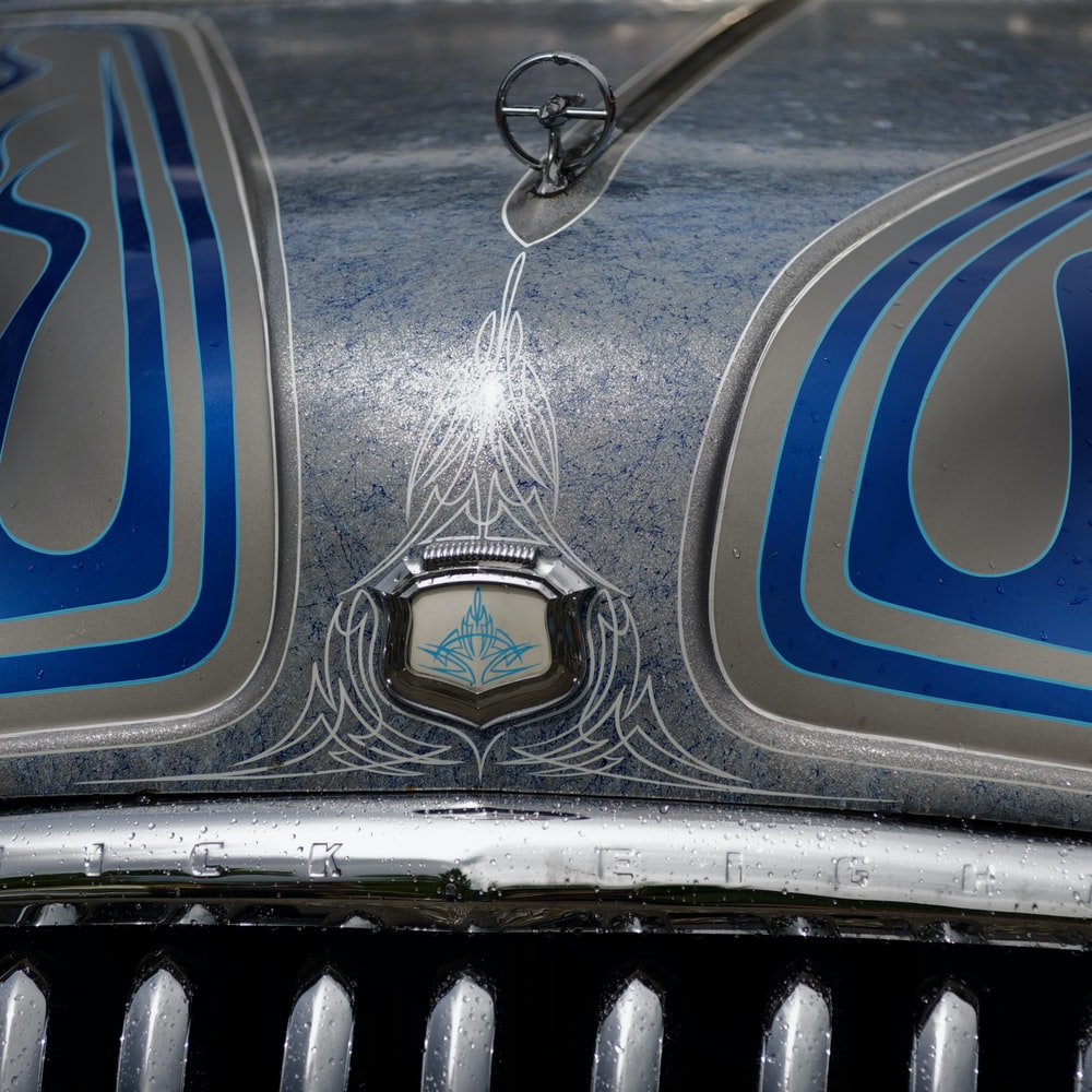 silver and blue car grille
