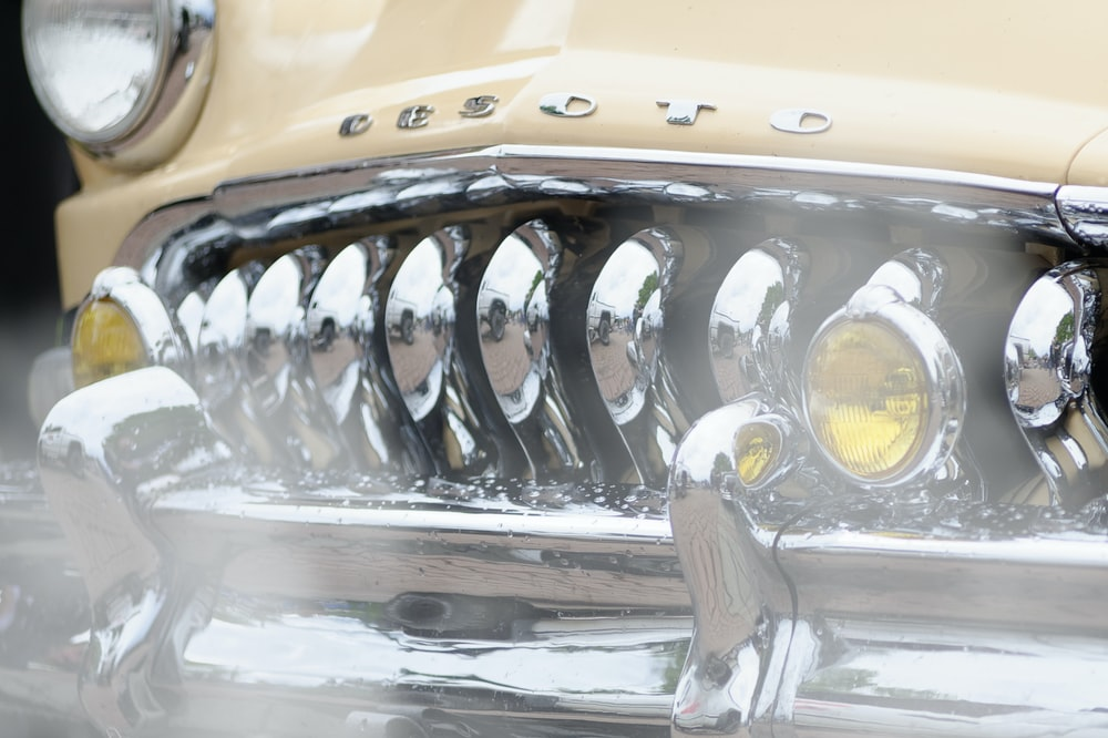 yellow and silver car engine