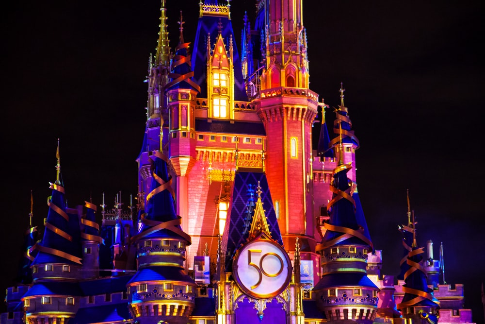 brown and blue lighted castle during night time