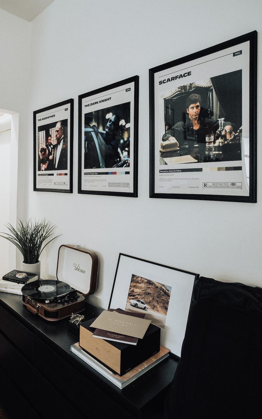 black and white photo frame on white wall