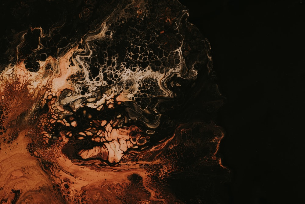 black and orange abstract painting