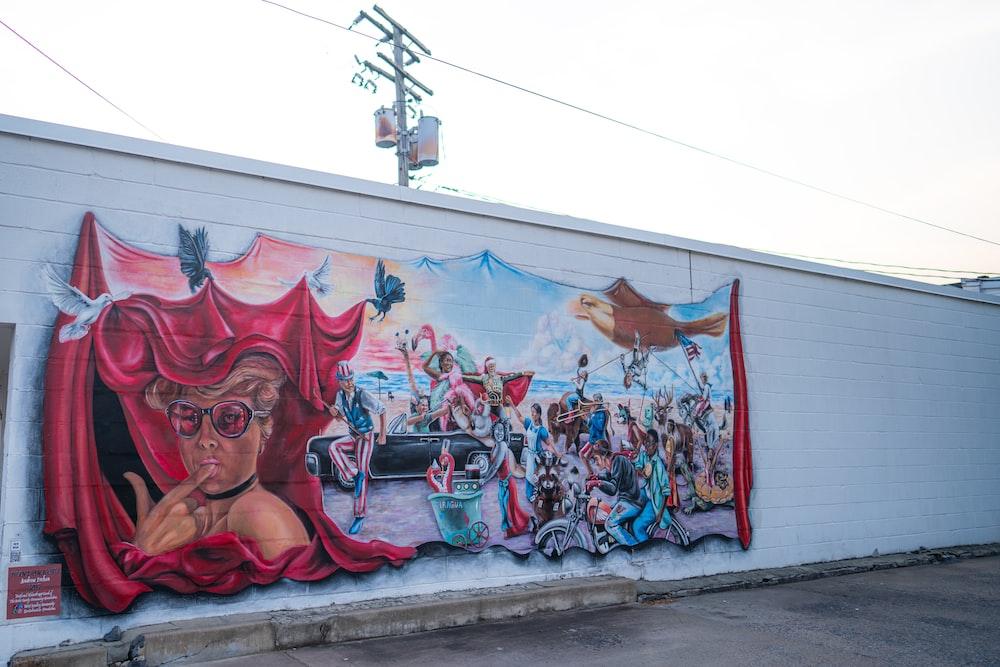 people in red dress graffiti