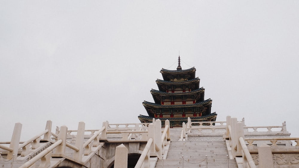 green and brown temple under white sky during daytime