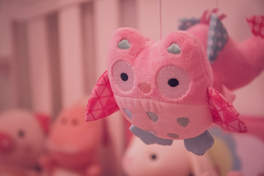 pink and white polka dot plush toy