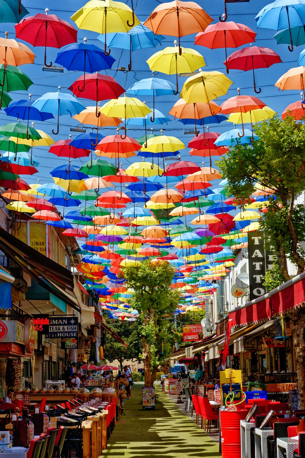 assorted umbrellas on the street during daytime