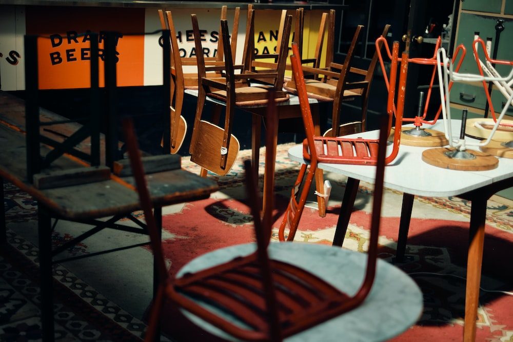 brown wooden chairs on restaurant