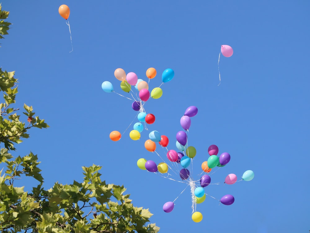red blue and yellow balloons on the sky