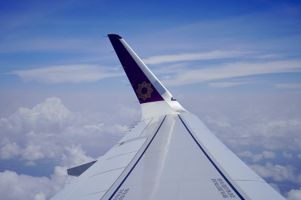 white and blue airplane wing during daytime