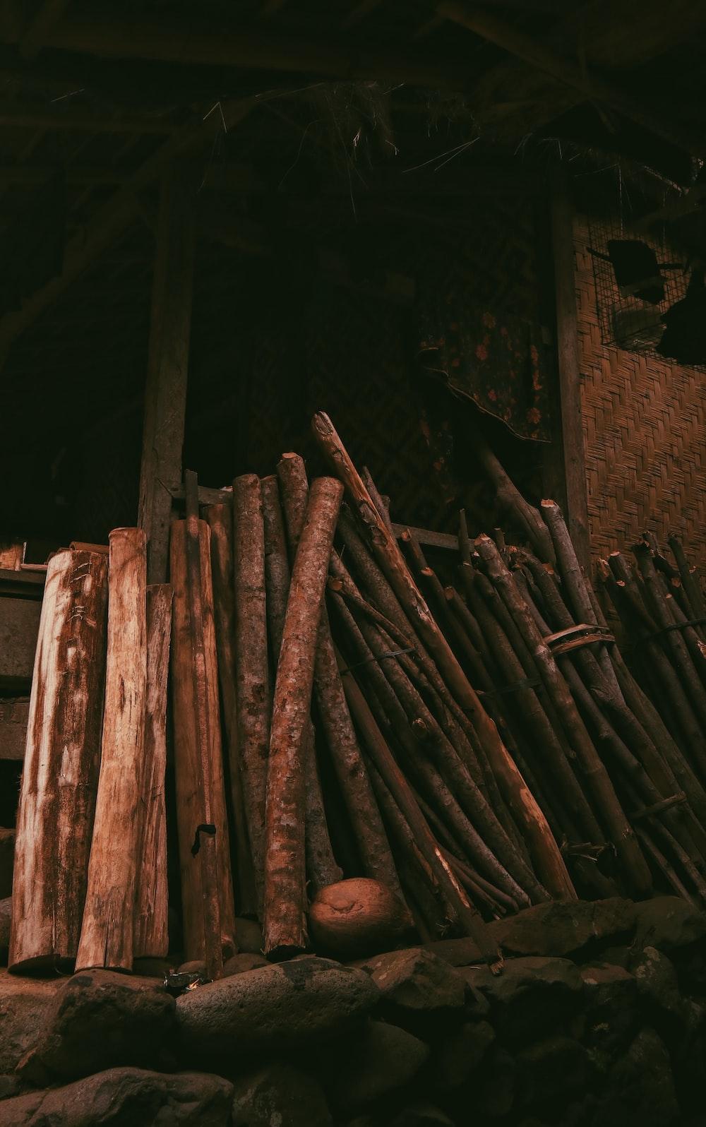 brown wooden sticks on brown wooden plank