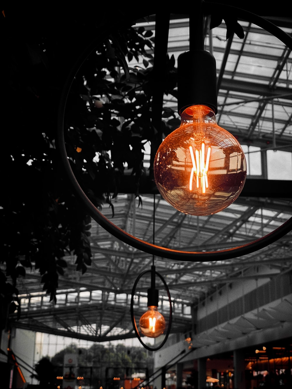 orange and black pendant lamp