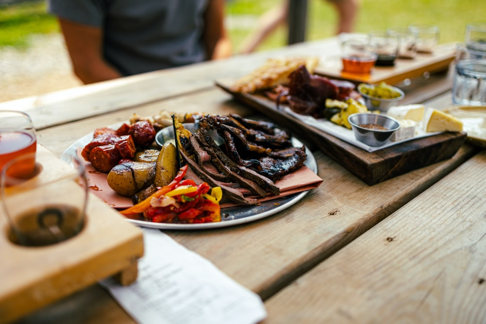 cooked food on brown wooden table