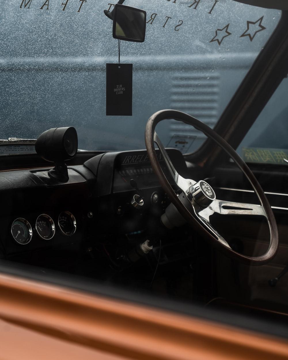 black steering wheel in car