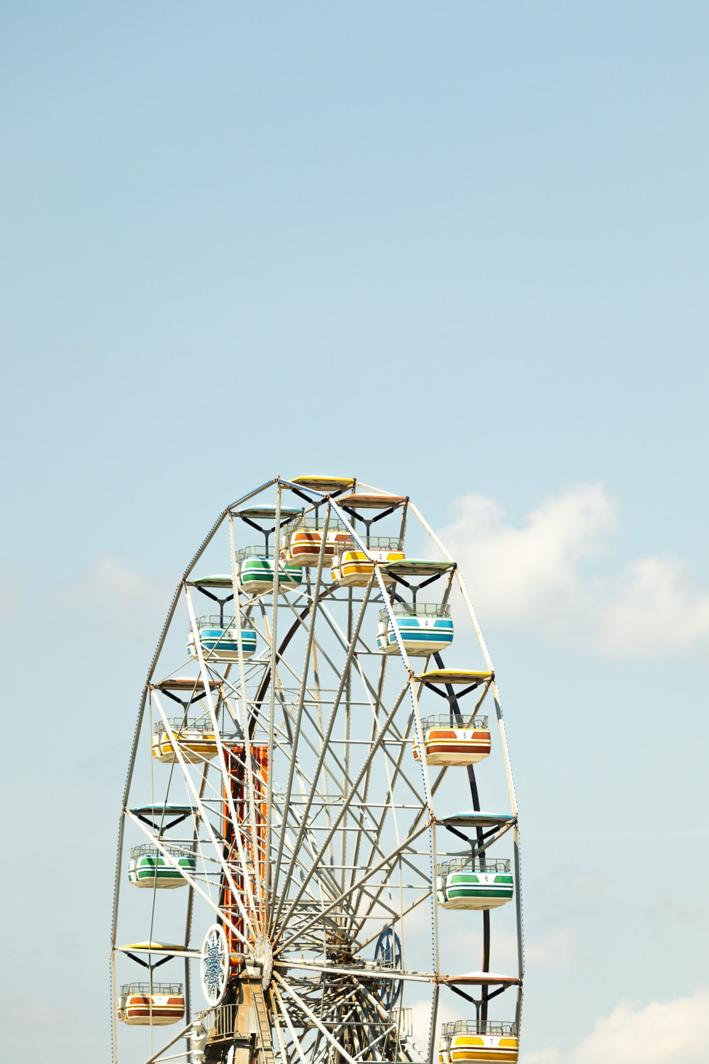 white and red ferris wheel under blue sky during daytime