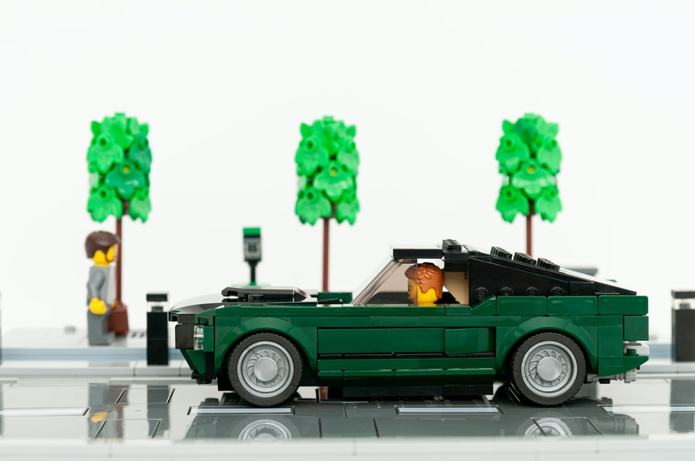 green and white vintage car