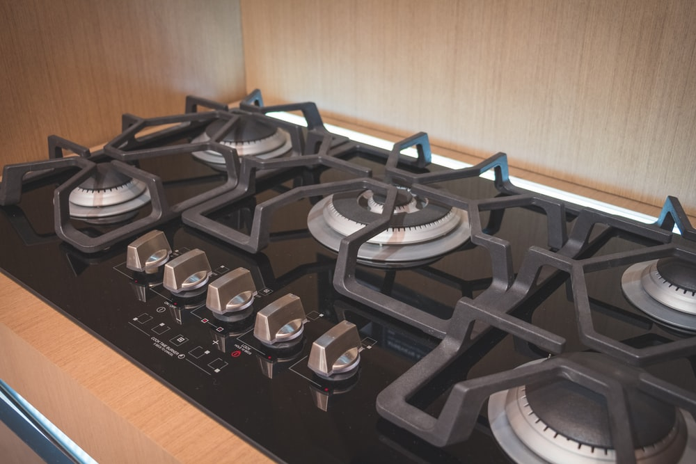 black and silver gas stove
