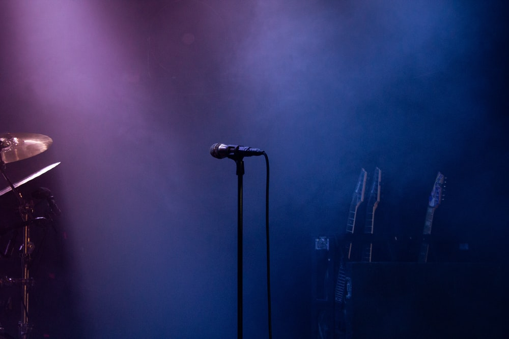 black microphone on stand near microphone