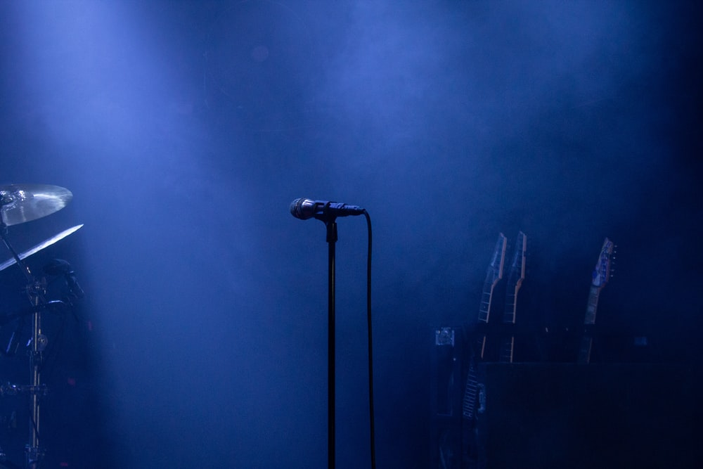black microphone on stand near microphone stand