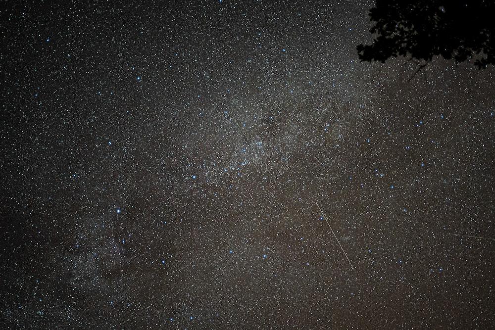 black and white stars on black sky