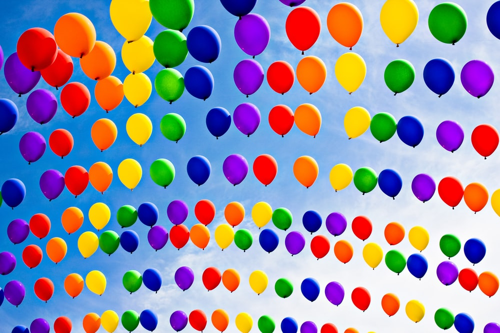 red yellow blue and green balloons