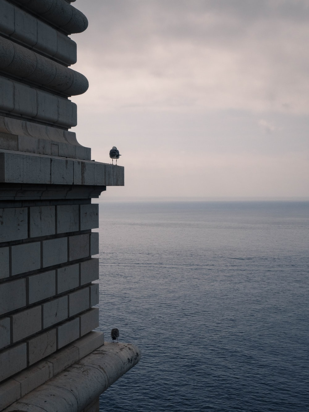 person sitting on concrete building near sea during daytime