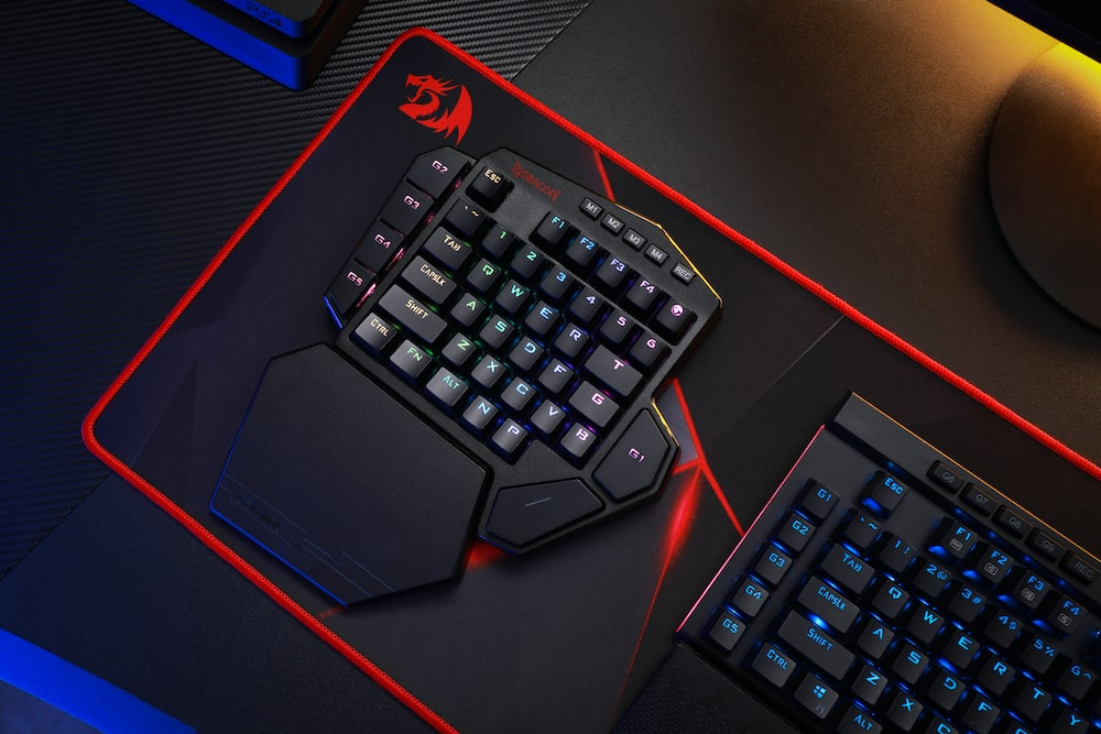 black and red computer keyboard