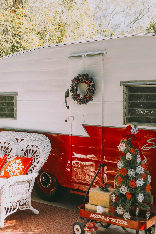 red and white wooden garage door