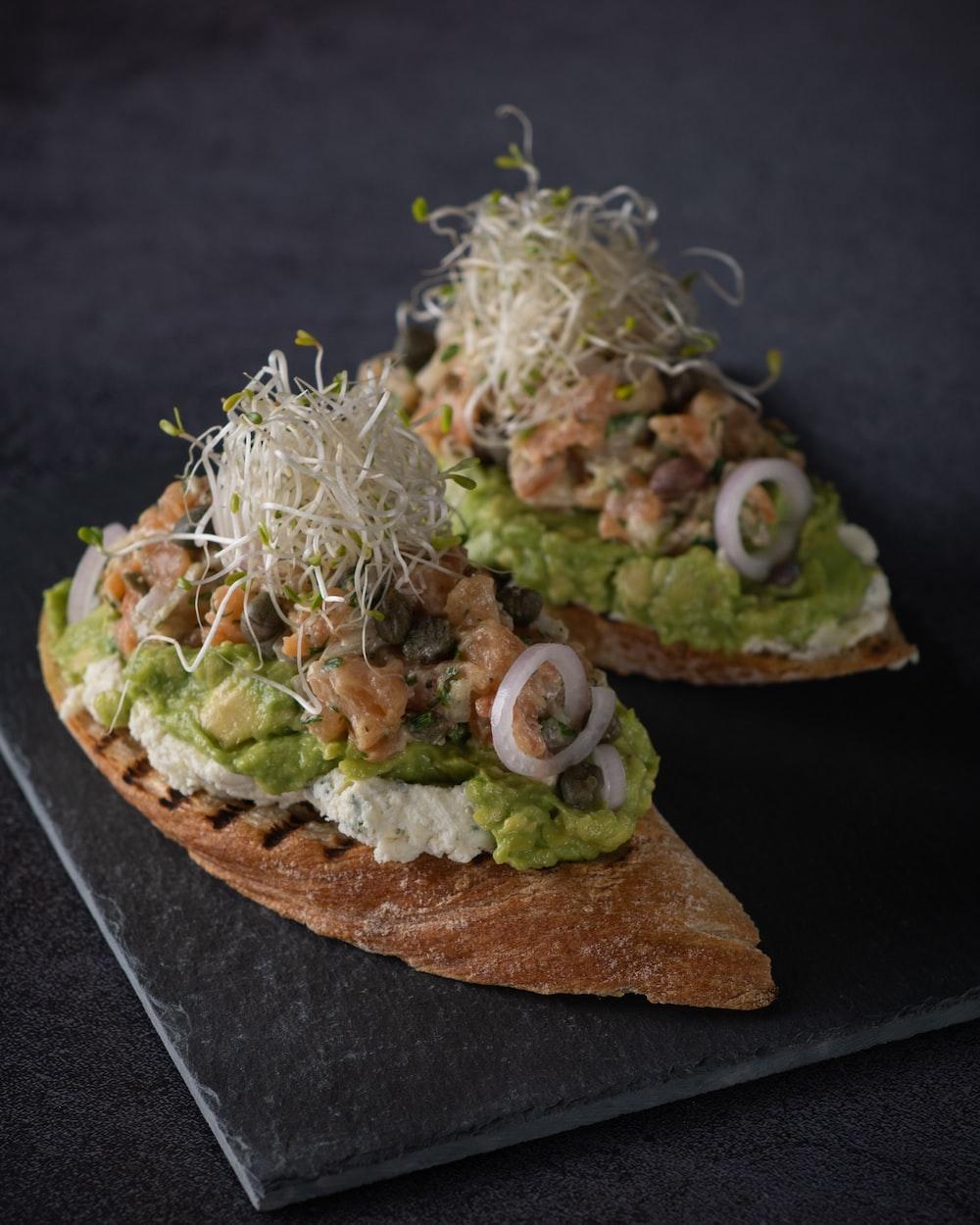 green vegetable salad on brown bread