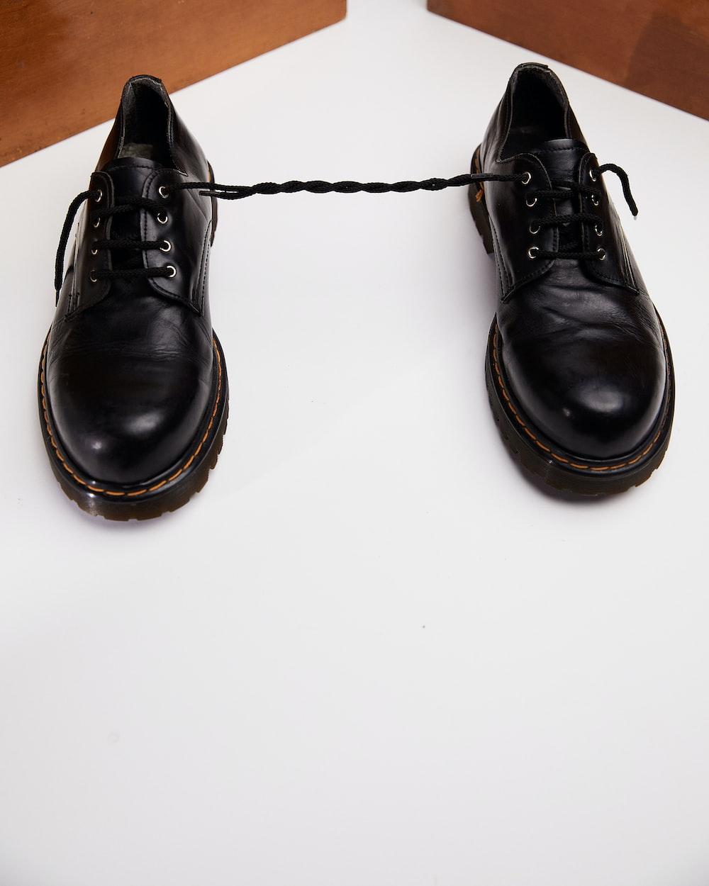 black leather lace up shoe