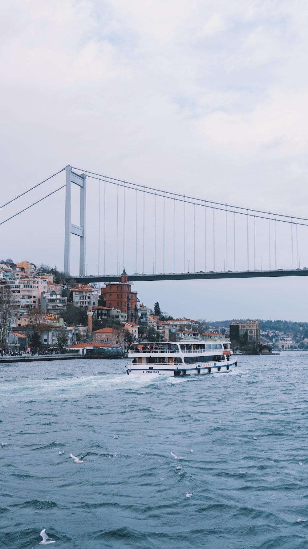 white boat on water near bridge during daytime
