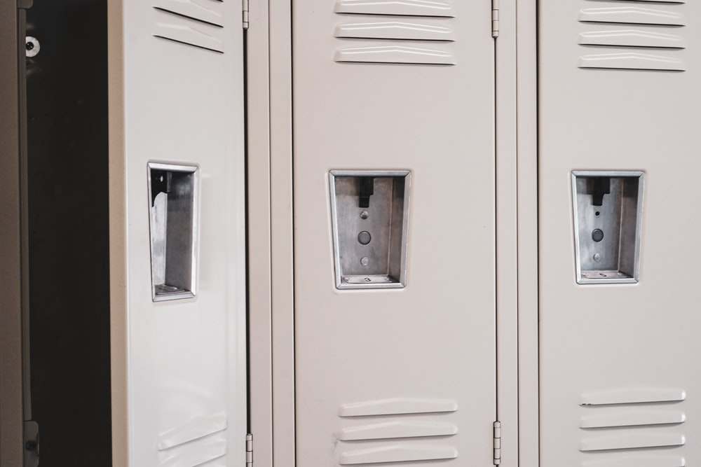 white wooden cabinet doors closed