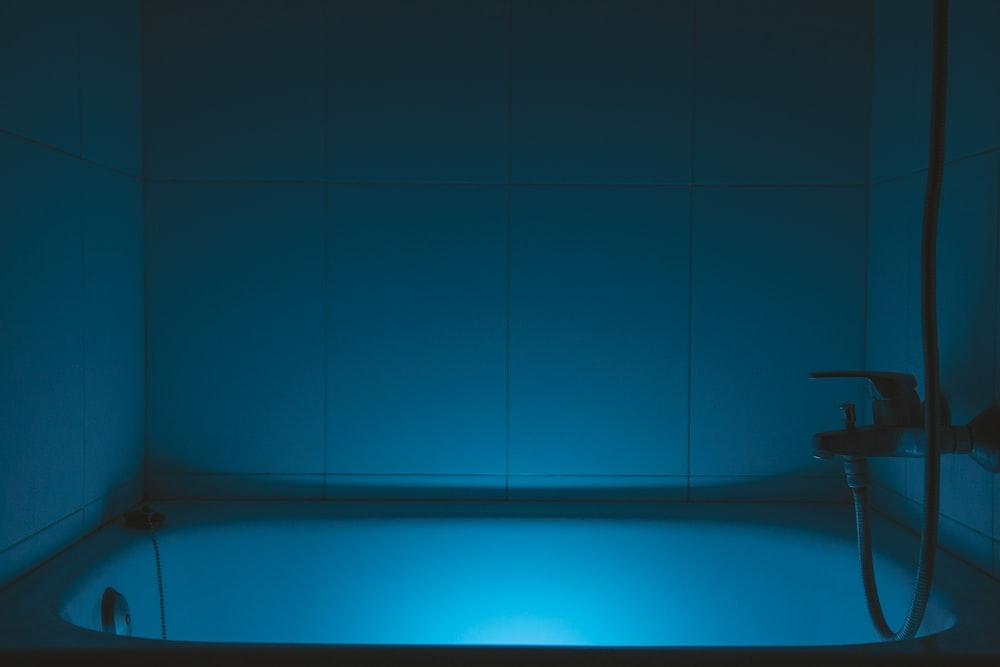 blue light on blue surface