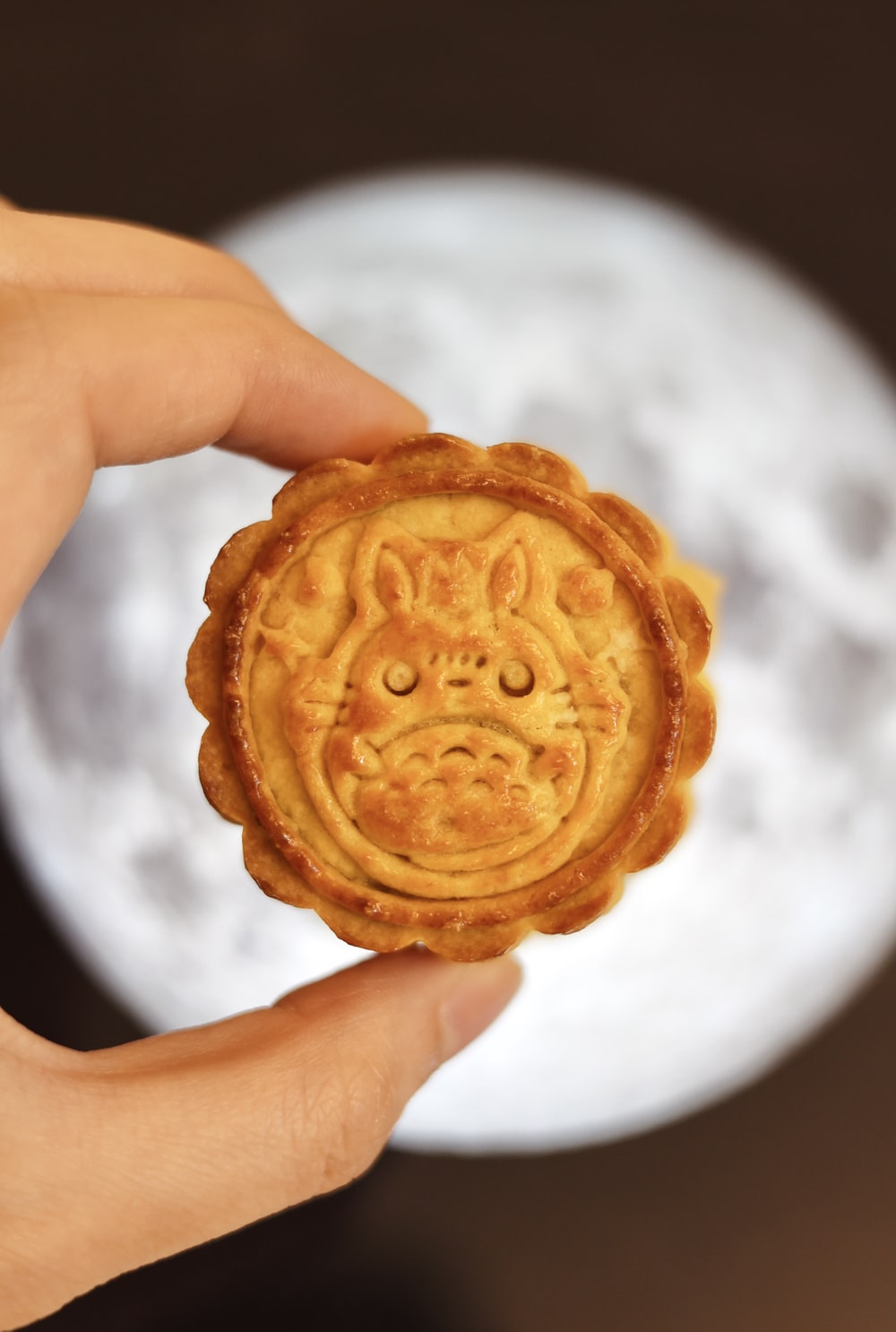 person holding brown round cookie
