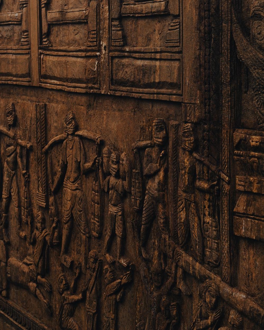 brown wooden door with black wooden door