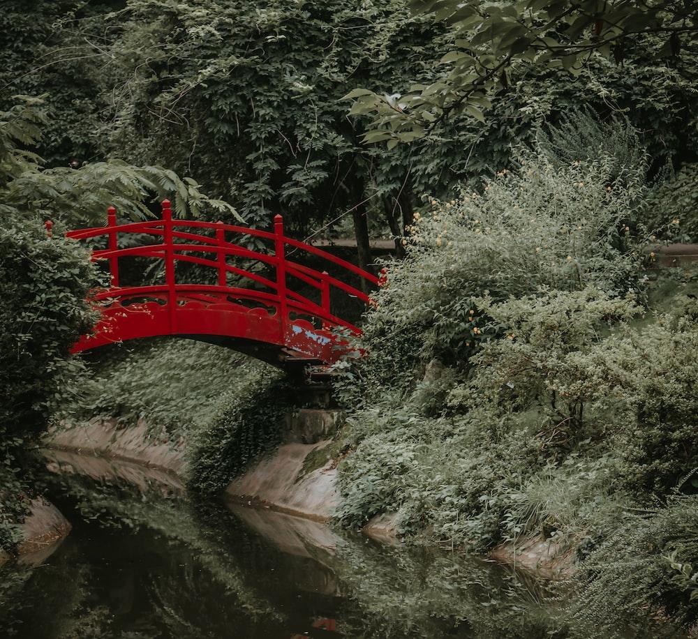 red wooden bridge over river