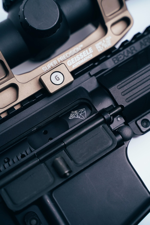 black semi automatic pistol on black case
