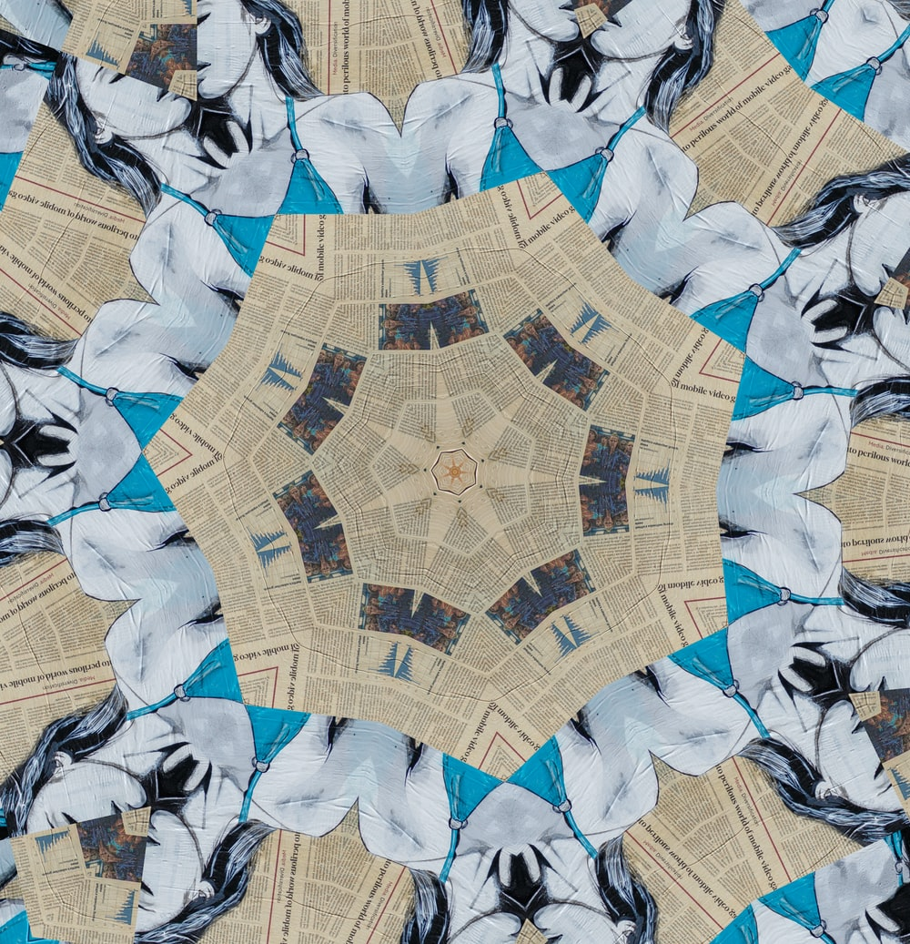 blue and brown star textile