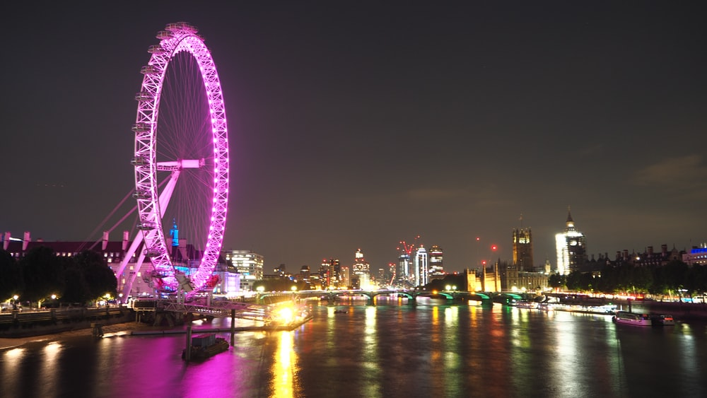 purple and blue ferris wheel during night time
