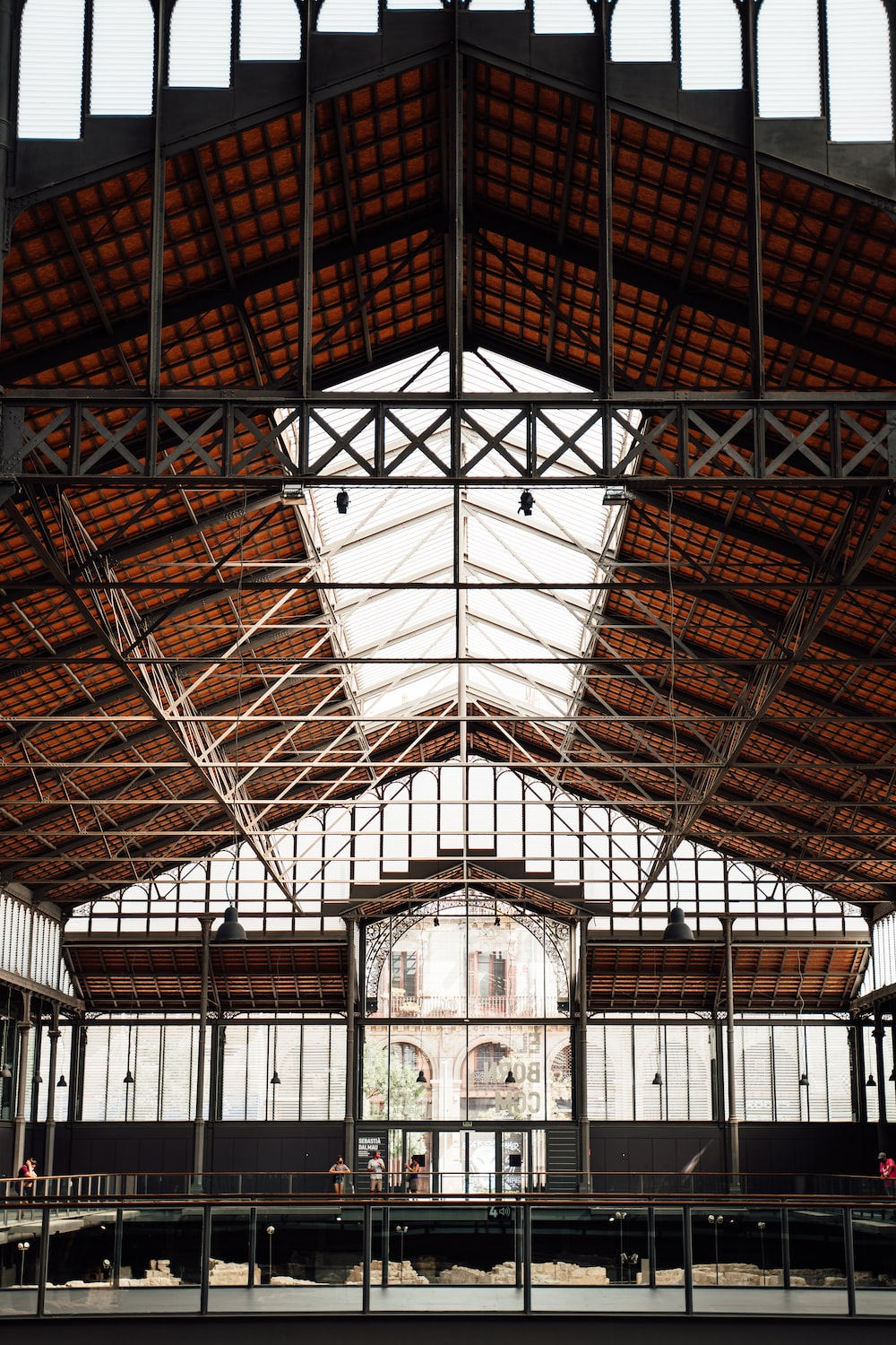 brown wooden ceiling with glass windows