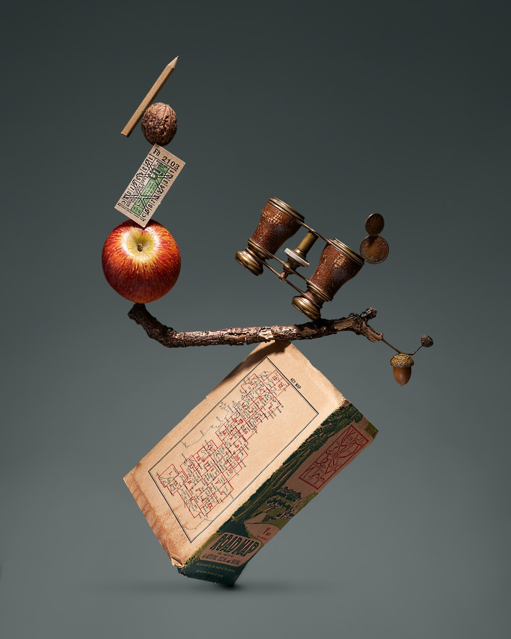 red apple fruit on brown wooden stick