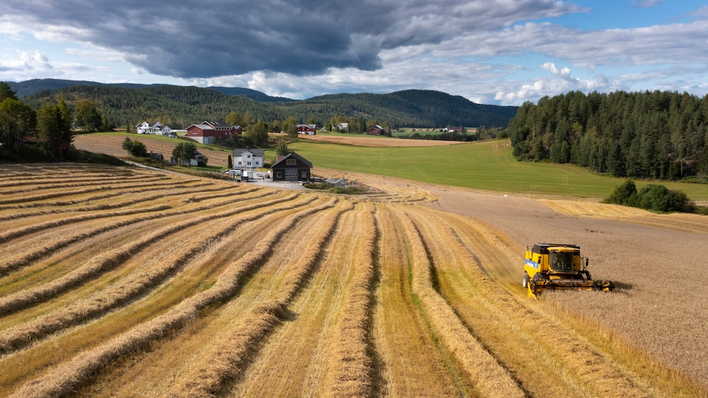 yellow and black tractor on brown field during daytime
