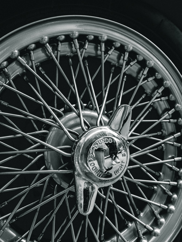 black and silver multi spoke wheel