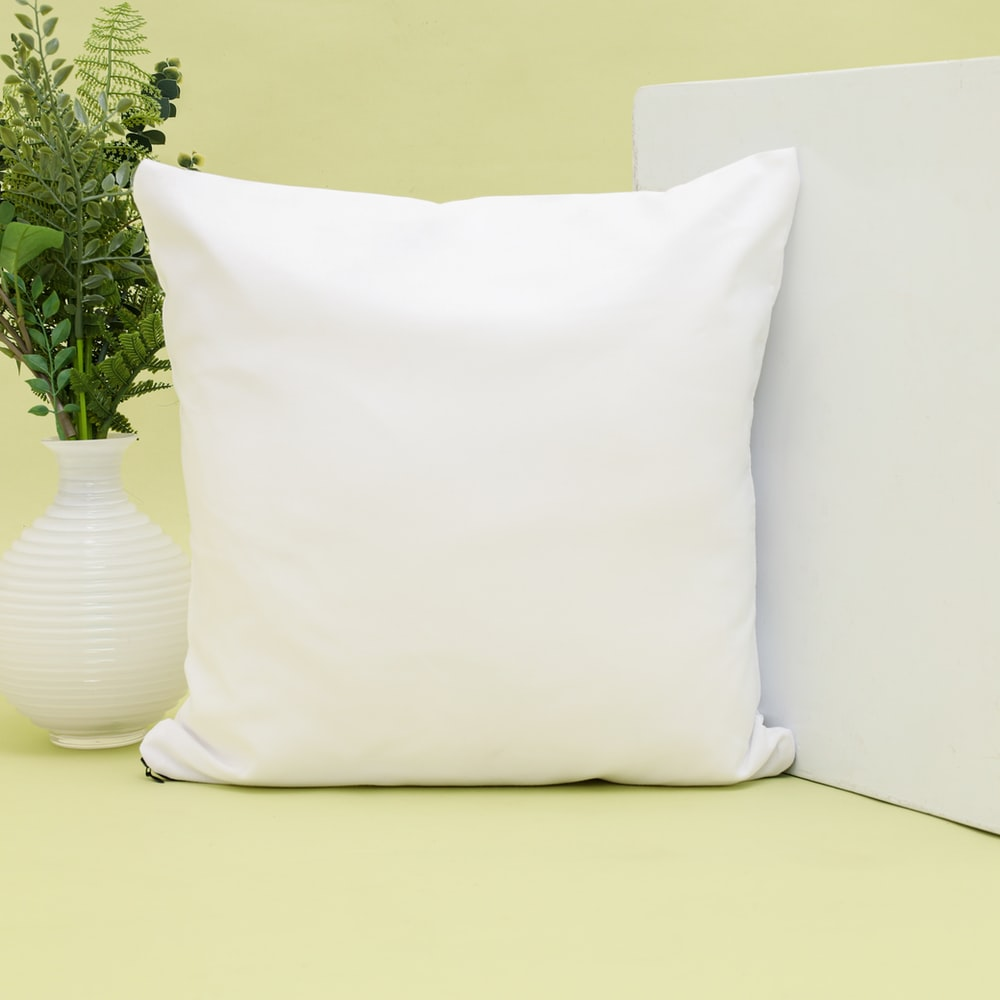 white throw pillow on white couch