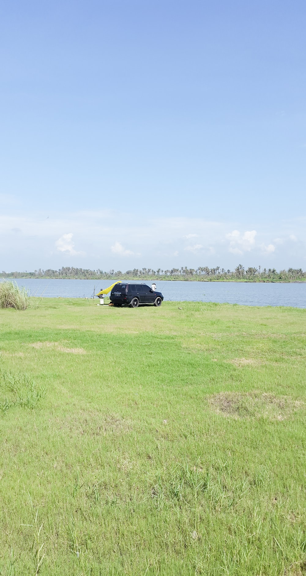 black car on green grass field near body of water during daytime