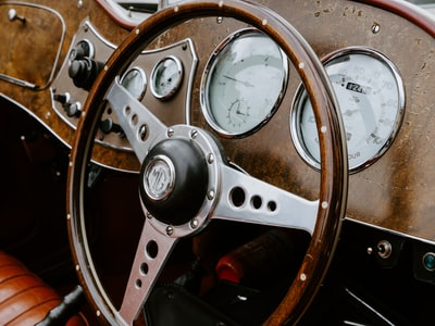 brown and silver steering wheel