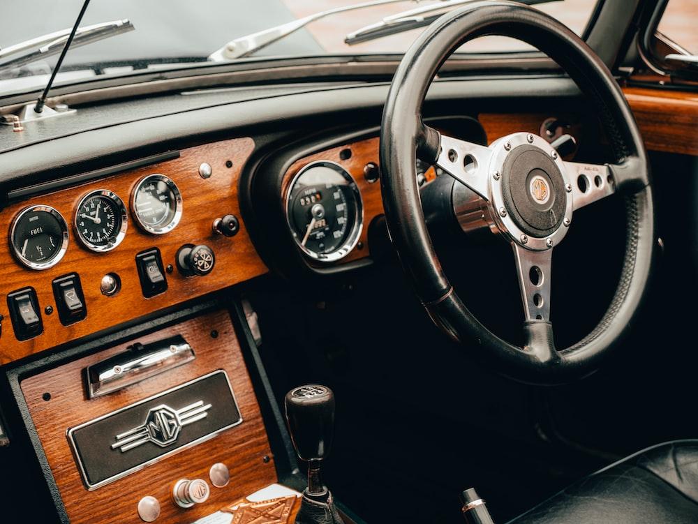 black and silver steering wheel