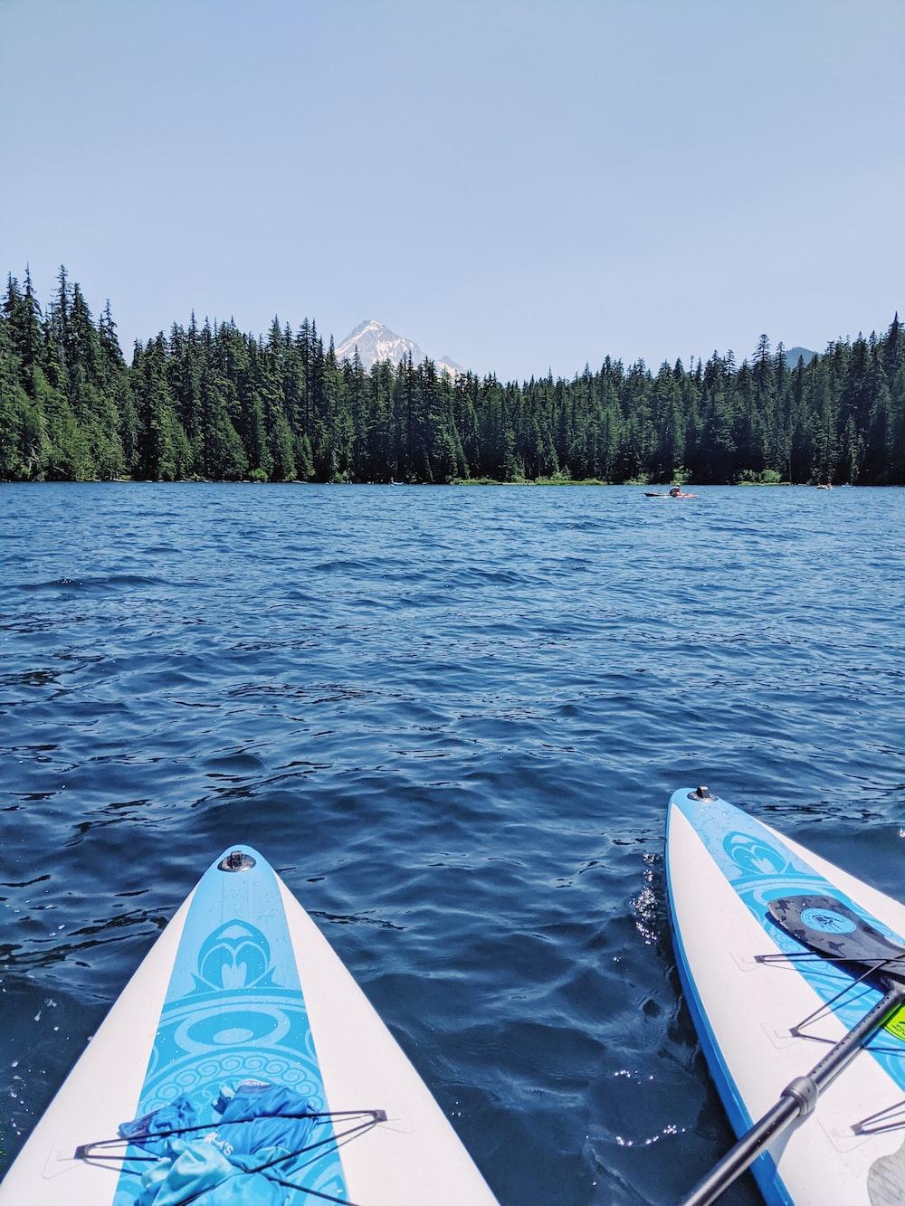 blue and white kayak on sea during daytime