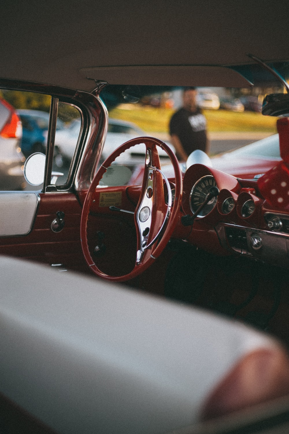 red and white car interior