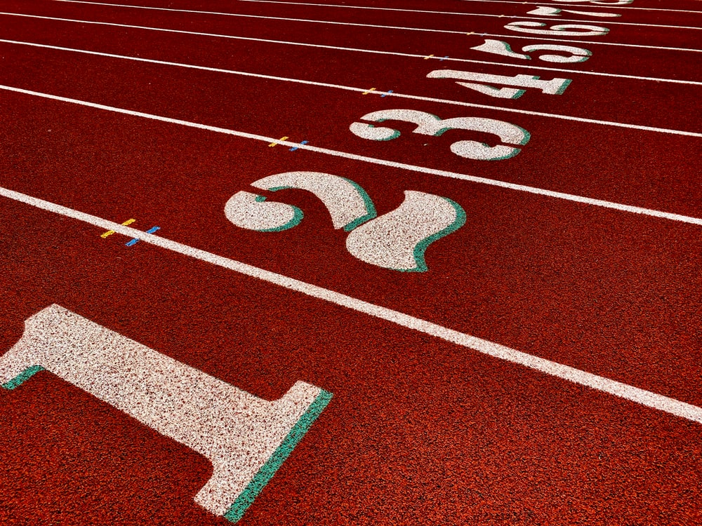 red and white track field