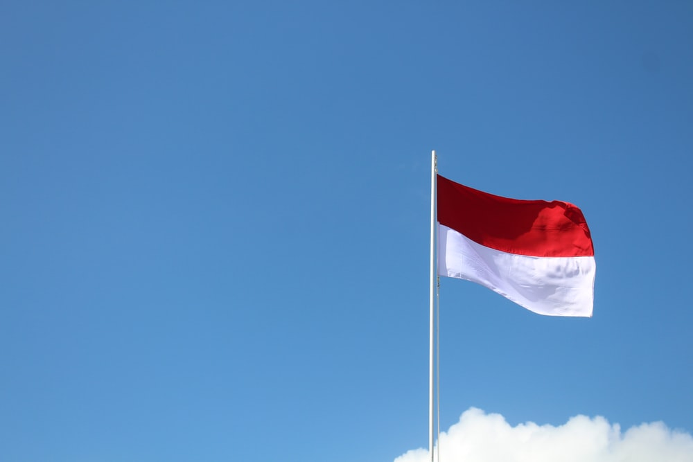 red and white flag under blue sky during daytime